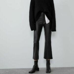 Zara crop leather flare pant, size Large